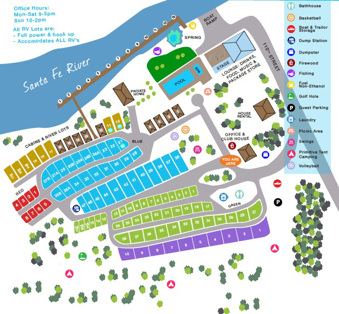 Ellie Ray's RV Resort RV Parking and Camp Ground Map