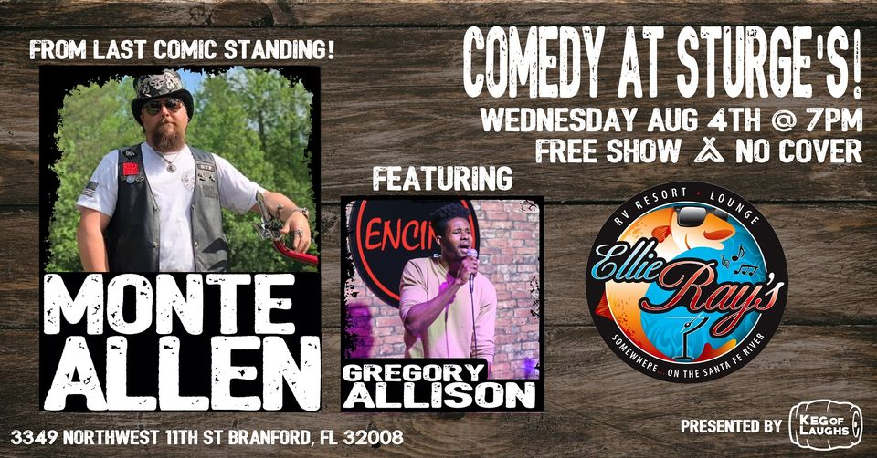 Comedian Monte Allen from Last Comic Standing will be LIVE at Ellie Ray's