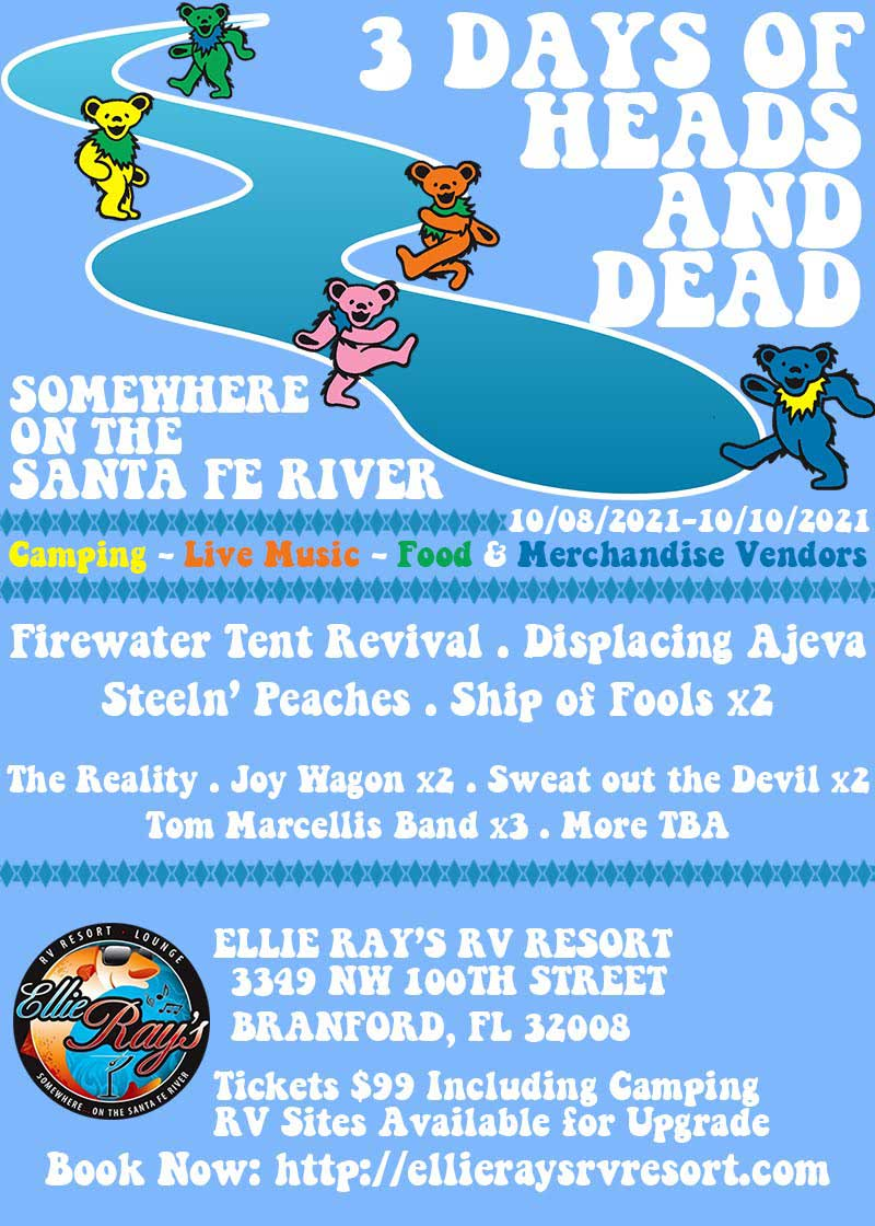 3 Days of Heads and Dead Music Concert and Vendor Event Flier at Ellie Rays RV Resort & Campground